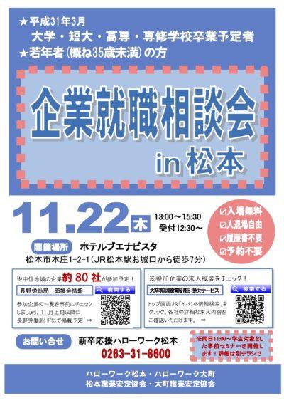 11月22日 「企業就職相談会in松本」